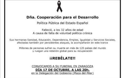Funeral por la política pública de Cooperación al Desarrollo
